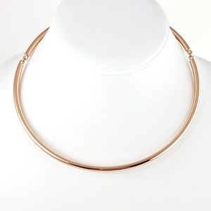 J. Crew Necklace Curved Bar Rose Gold Tone